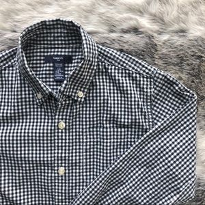 GAP boys dress shirt dark navy checkered size 8-9